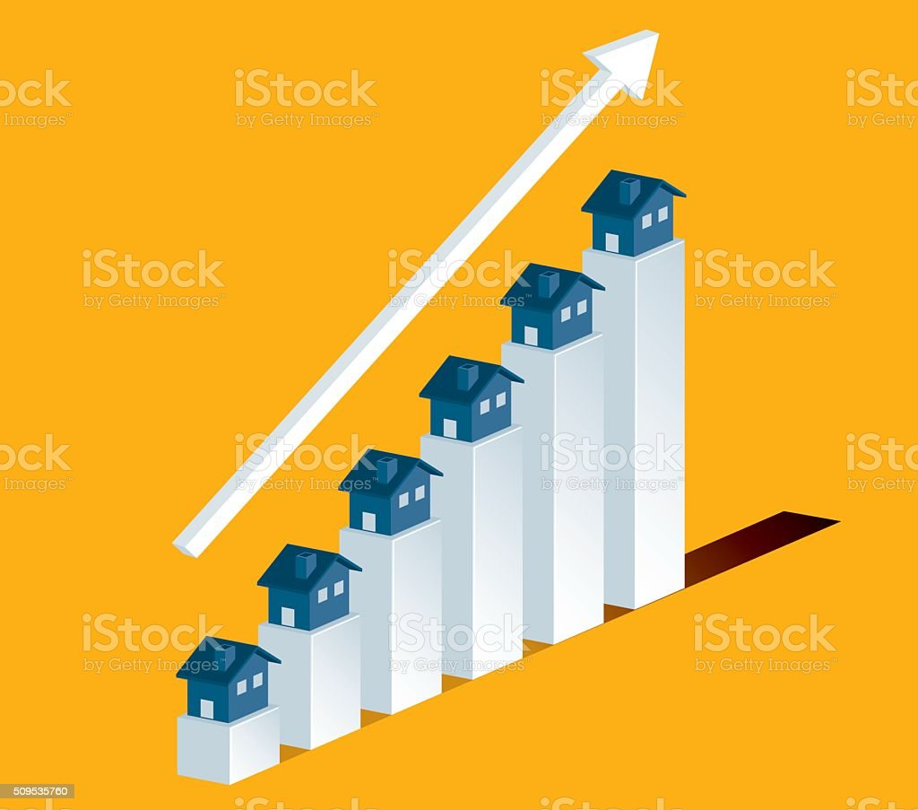 Homes increasing in value vector art illustration
