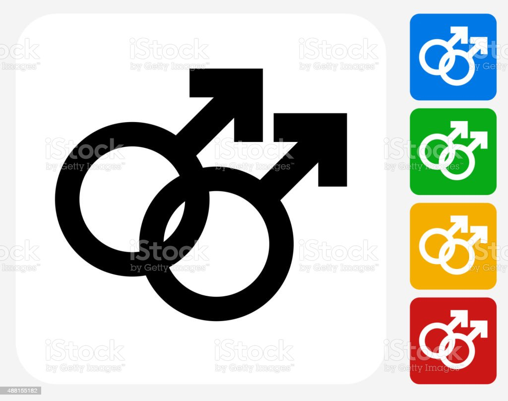 Homosexual Couple Icon Flat Graphic Design vector art illustration
