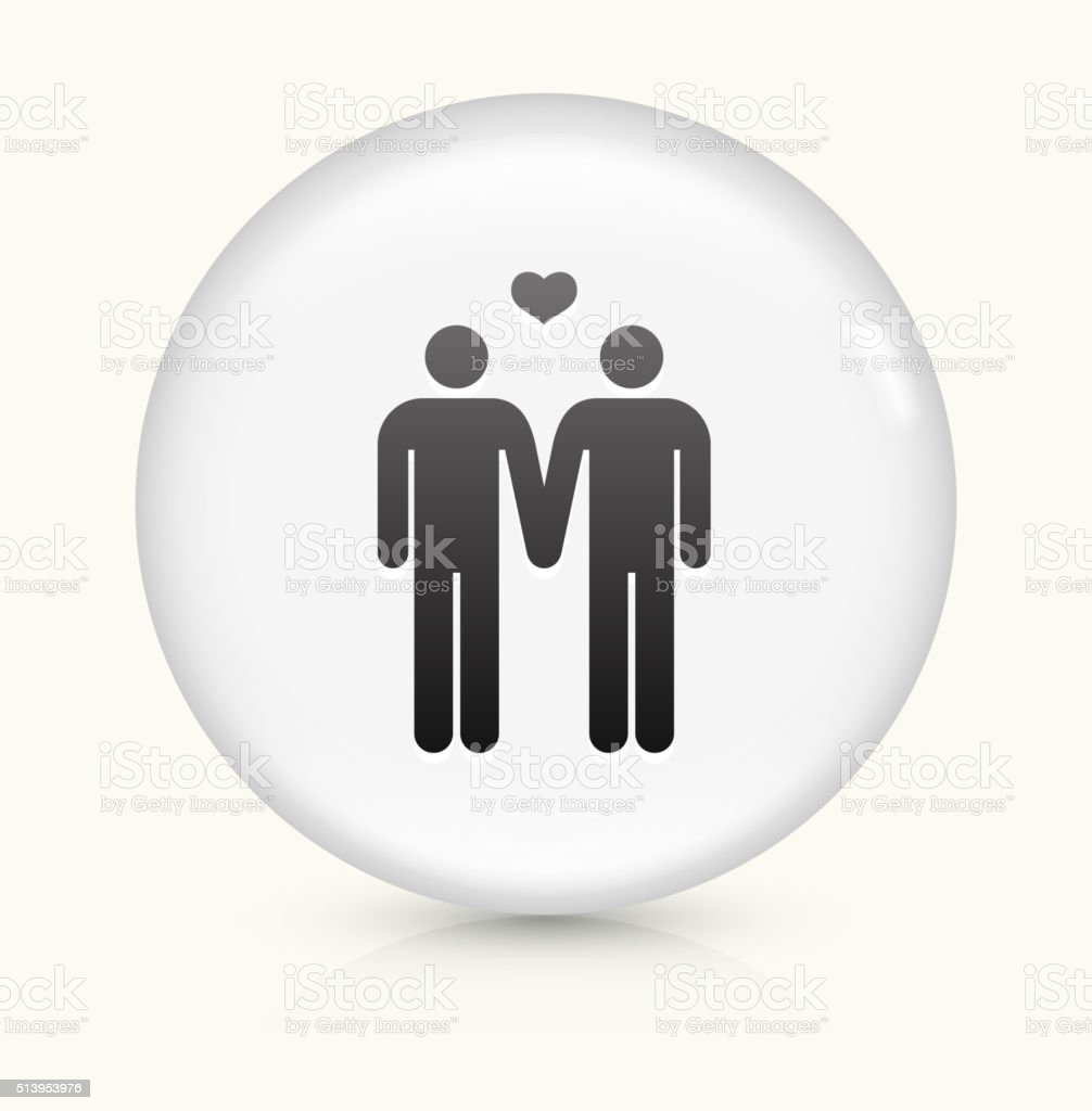 Homosexual Couple icon on white round vector button vector art illustration