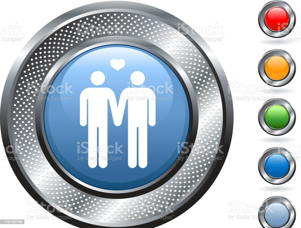 homosexual couple royalty free vector art on metallic button royalty-free stock vector art