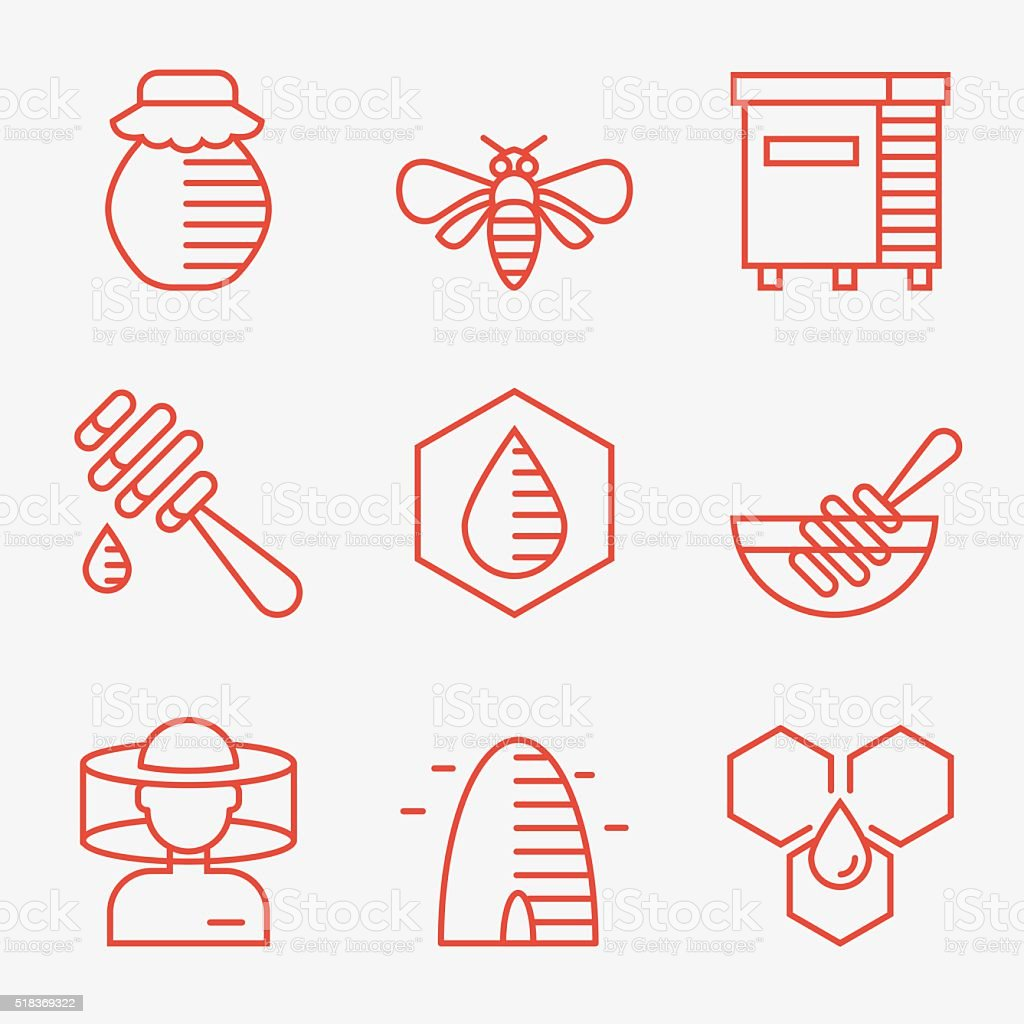 Honey and beekeeping icons vector art illustration