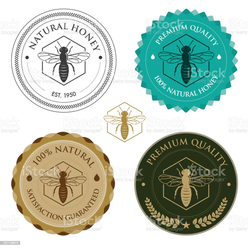 Honey Bee badges vector art illustration