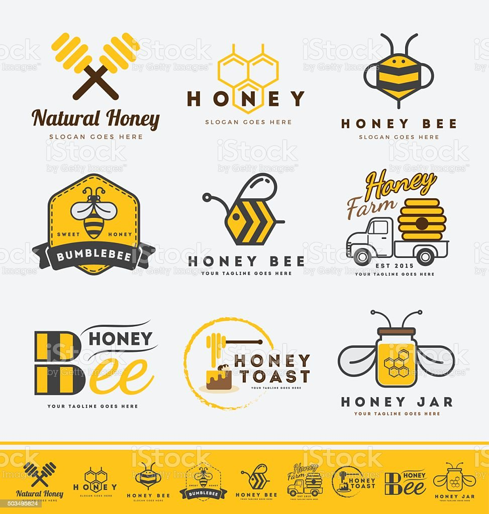 Honey bee logo and labels for honey products. vector art illustration