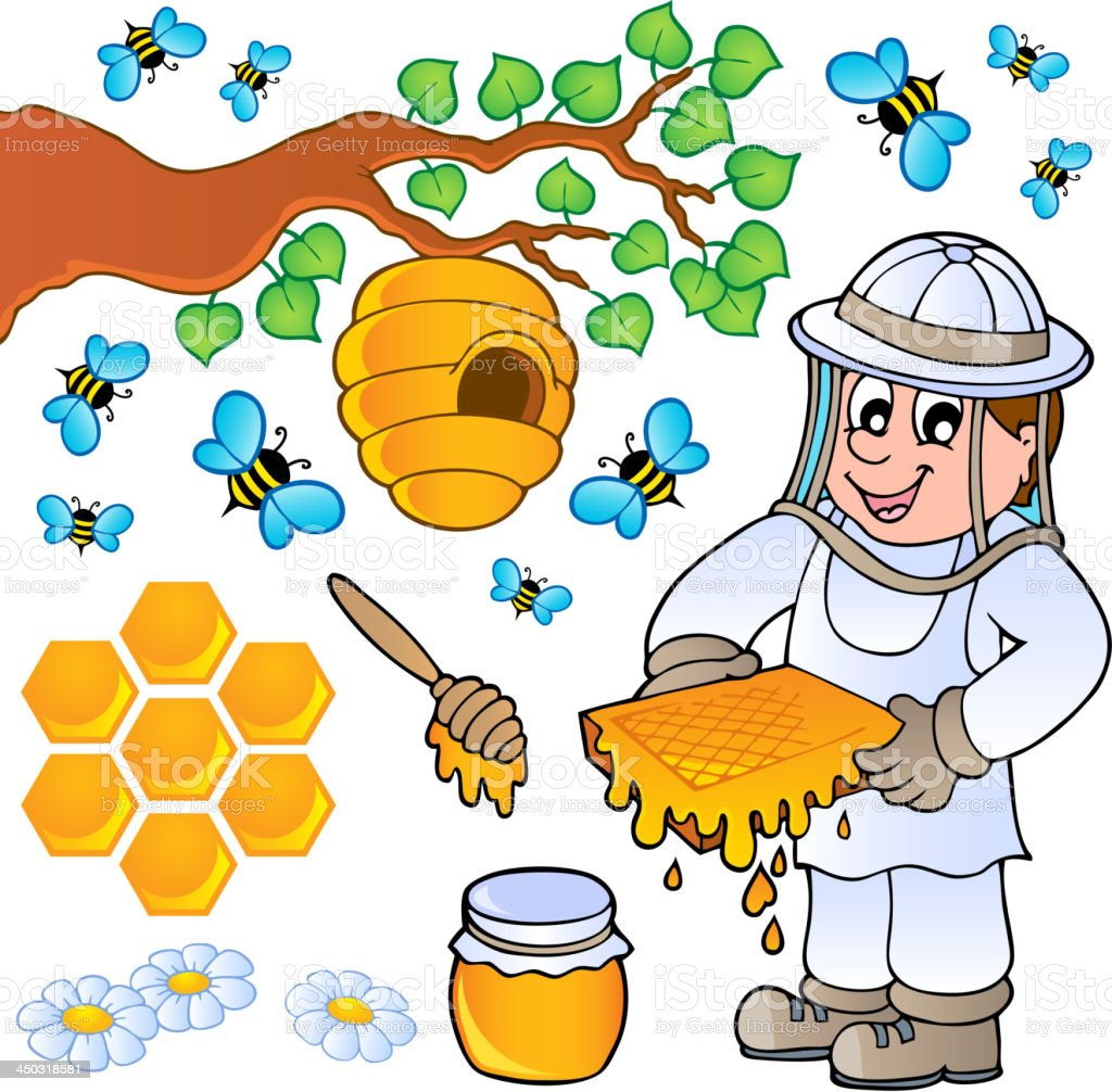 Honey bee theme collection royalty-free stock vector art