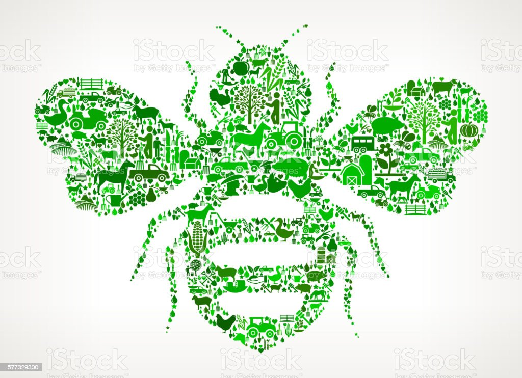 Honey Bees Farming and Agriculture Green Icon Pattern vector art illustration