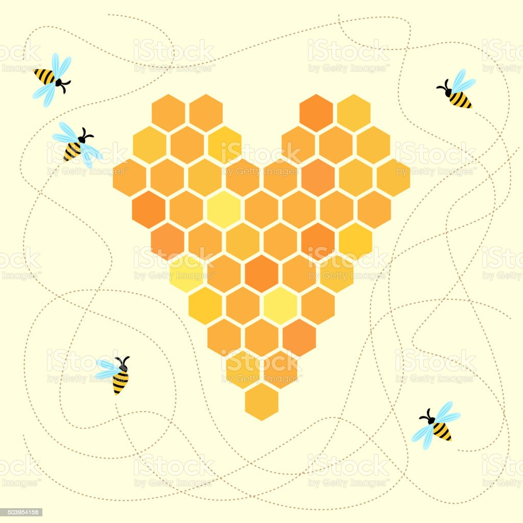 Honey heart with bees vector art illustration