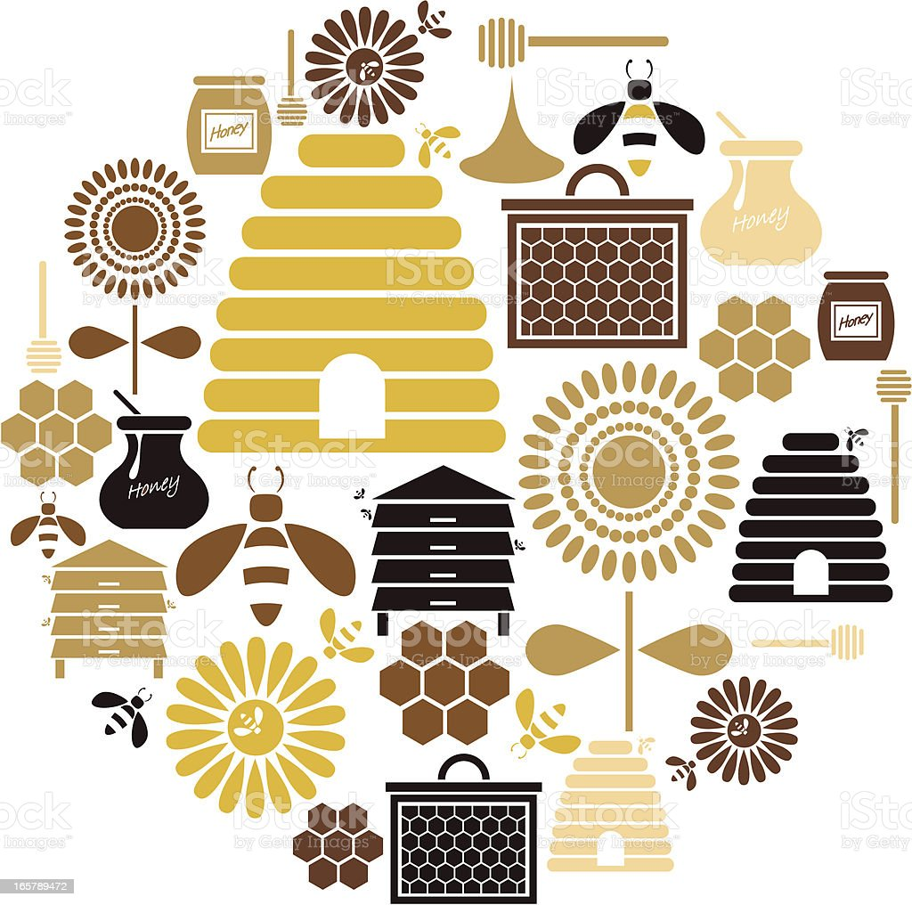 Honey Icon Set royalty-free stock vector art