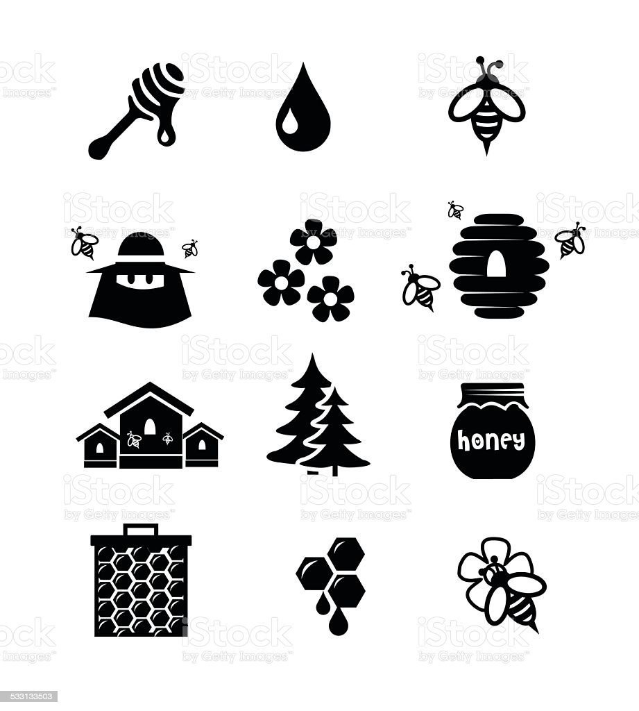Honey icon set vector illustration vector art illustration
