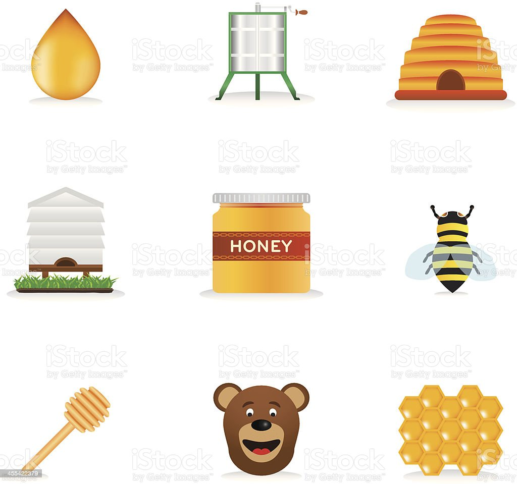 Honey Icons vector art illustration