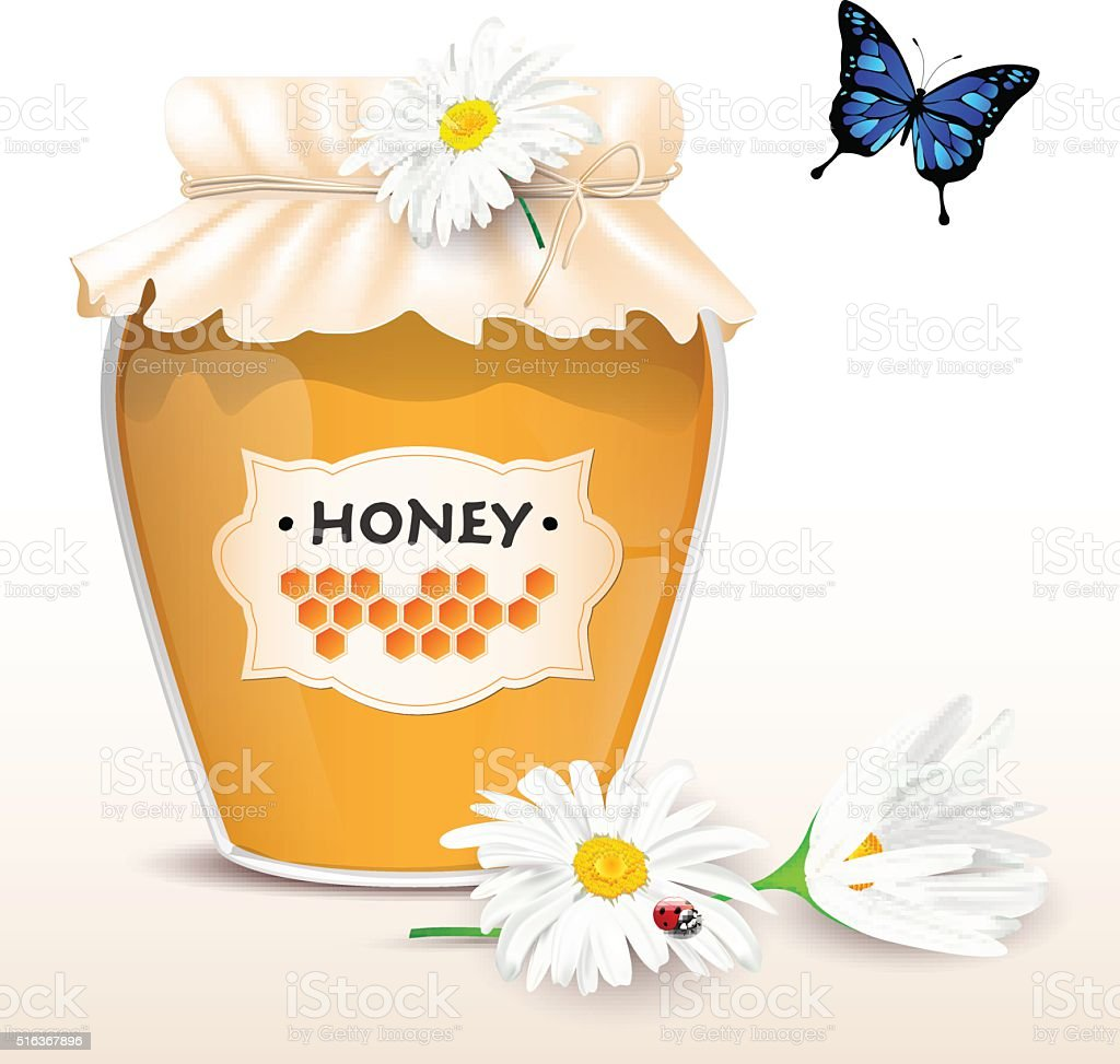 Honey in glass with flowers and butterfly vector art illustration