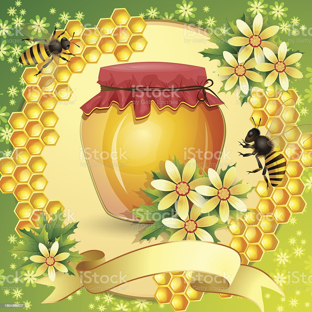 Honey jar with bees royalty-free stock vector art