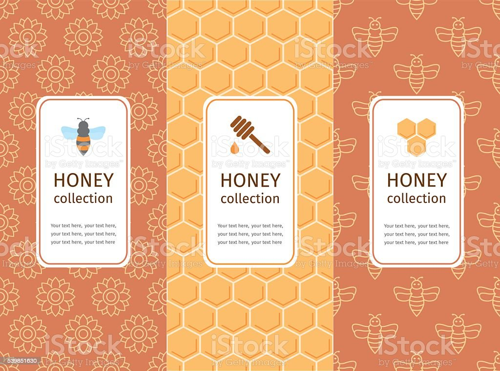 Honey label, logo, sticker design elements. vector art illustration
