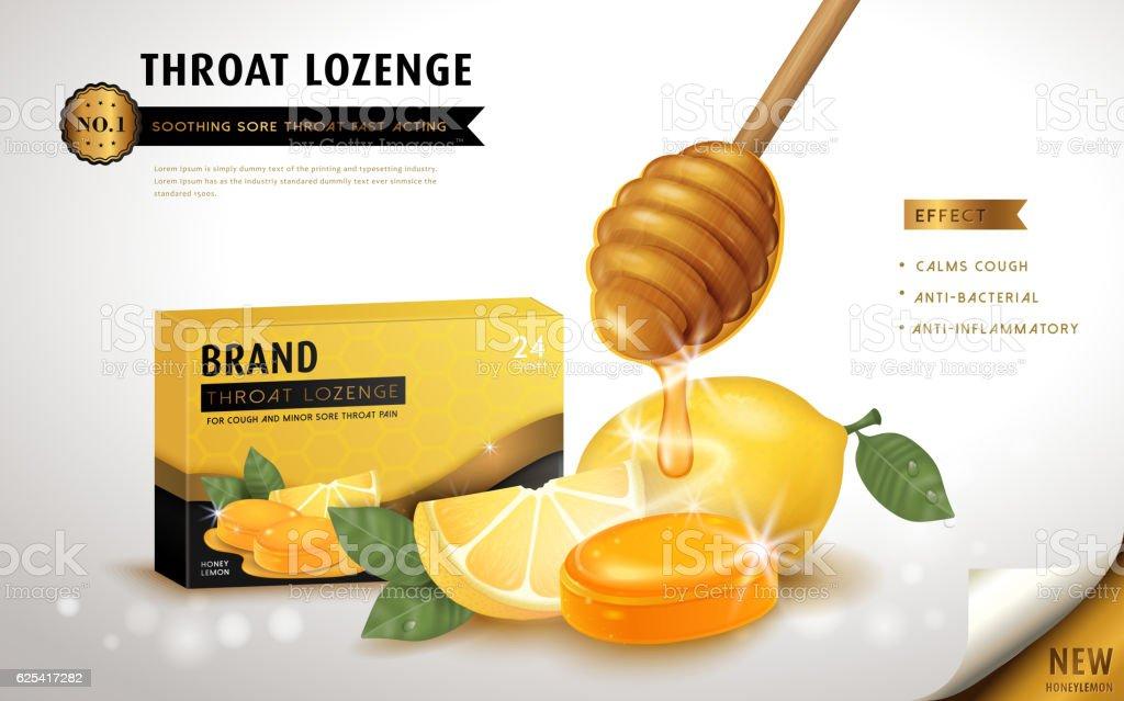 Honey lemon throat lozenge vector art illustration