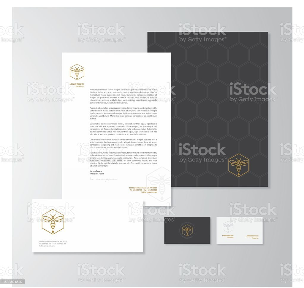 Honey production company stationery design vector art illustration
