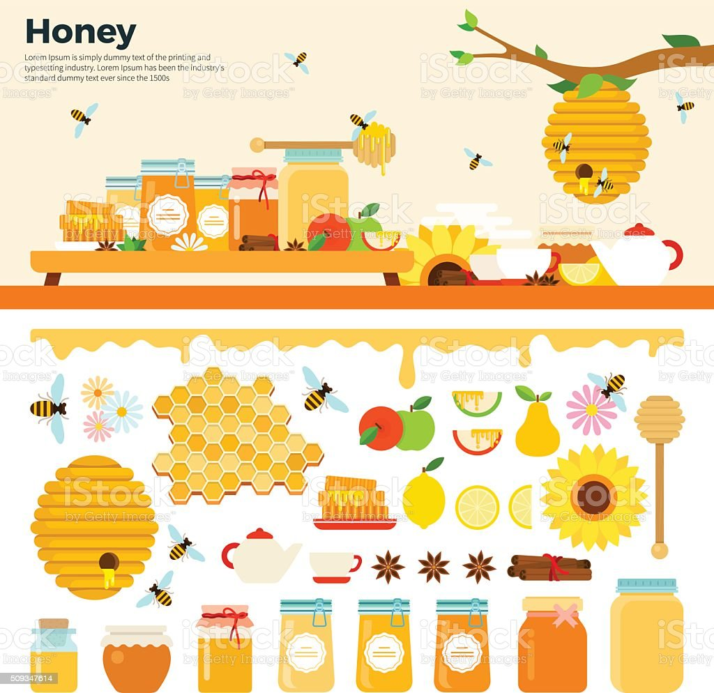 Honey products on the table vector art illustration