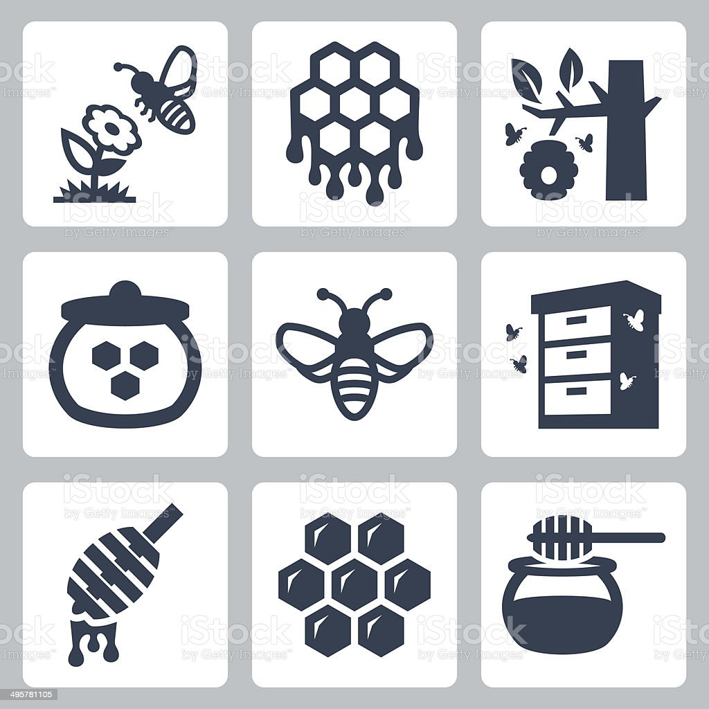 Honey related vector icons set vector art illustration