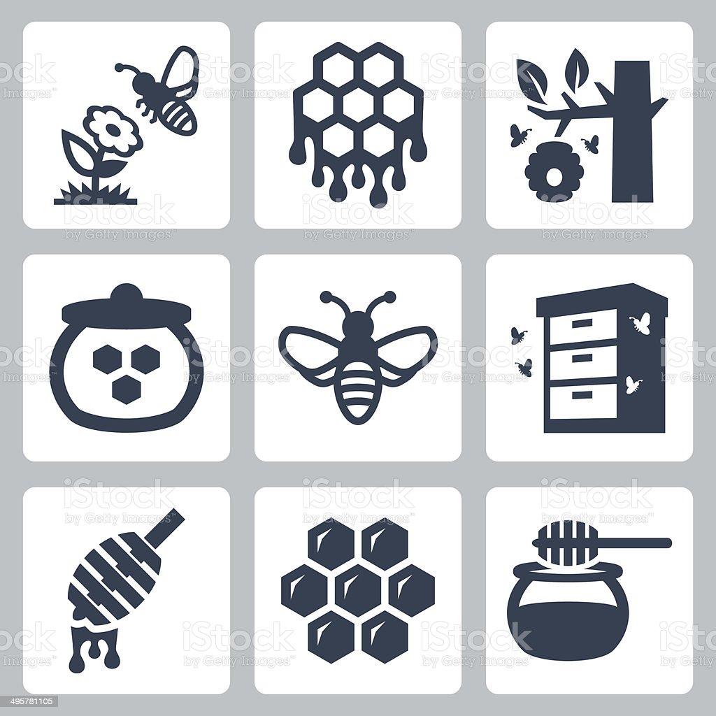 Honey related vector icons set vector art illustration