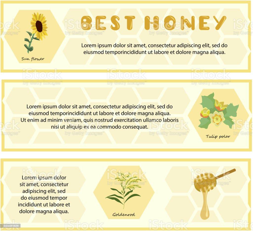 Honey set for banner, flyer, exhibitions, posters. vector art illustration