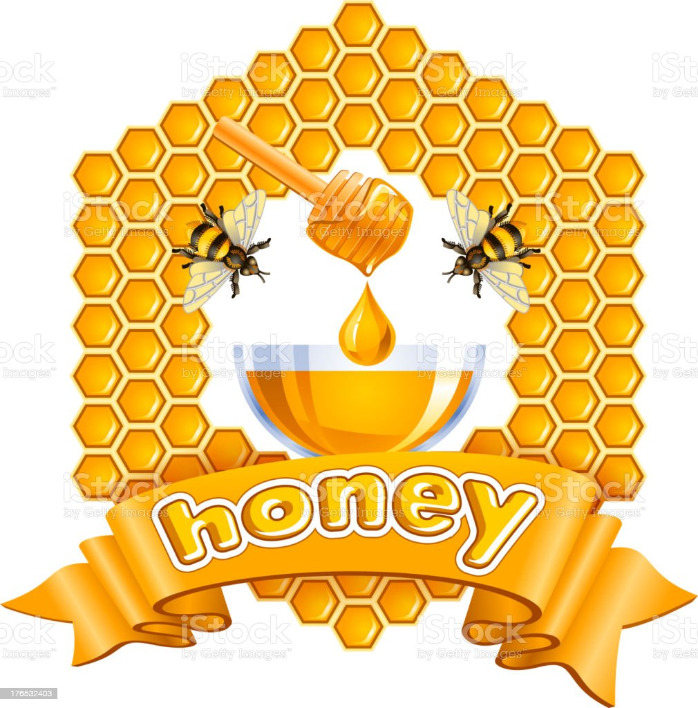 Honey vector art illustration
