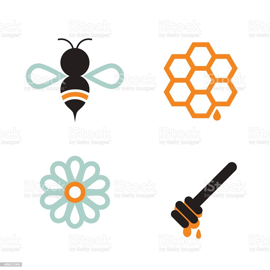 Honeybee And Supplies vector art illustration