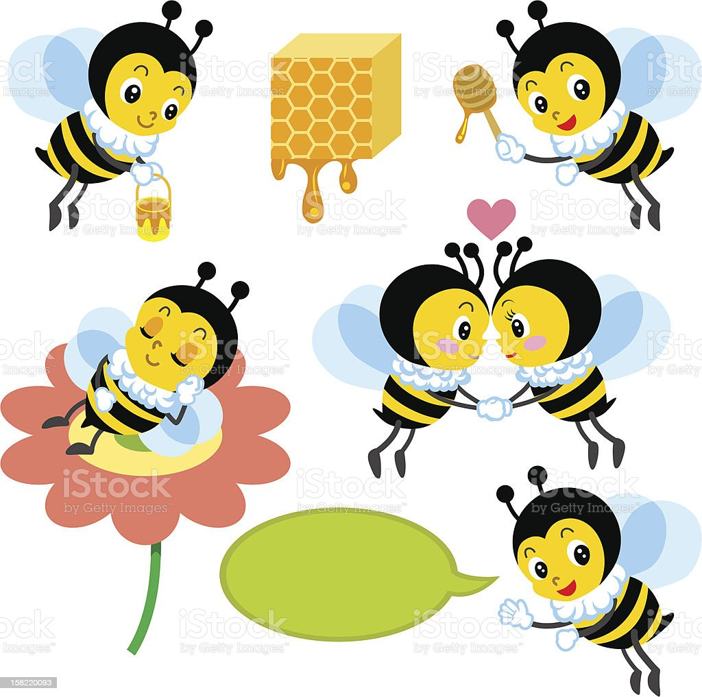 Honeybee Character set royalty-free stock vector art