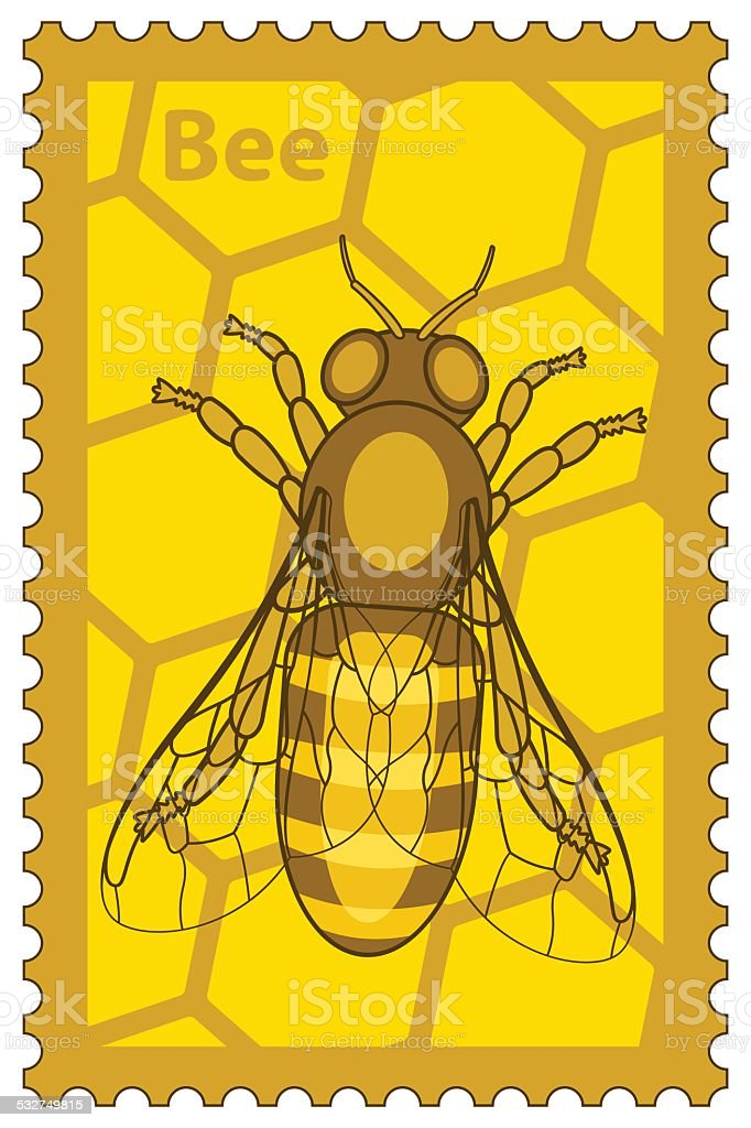 Honeybee stamp vector art illustration