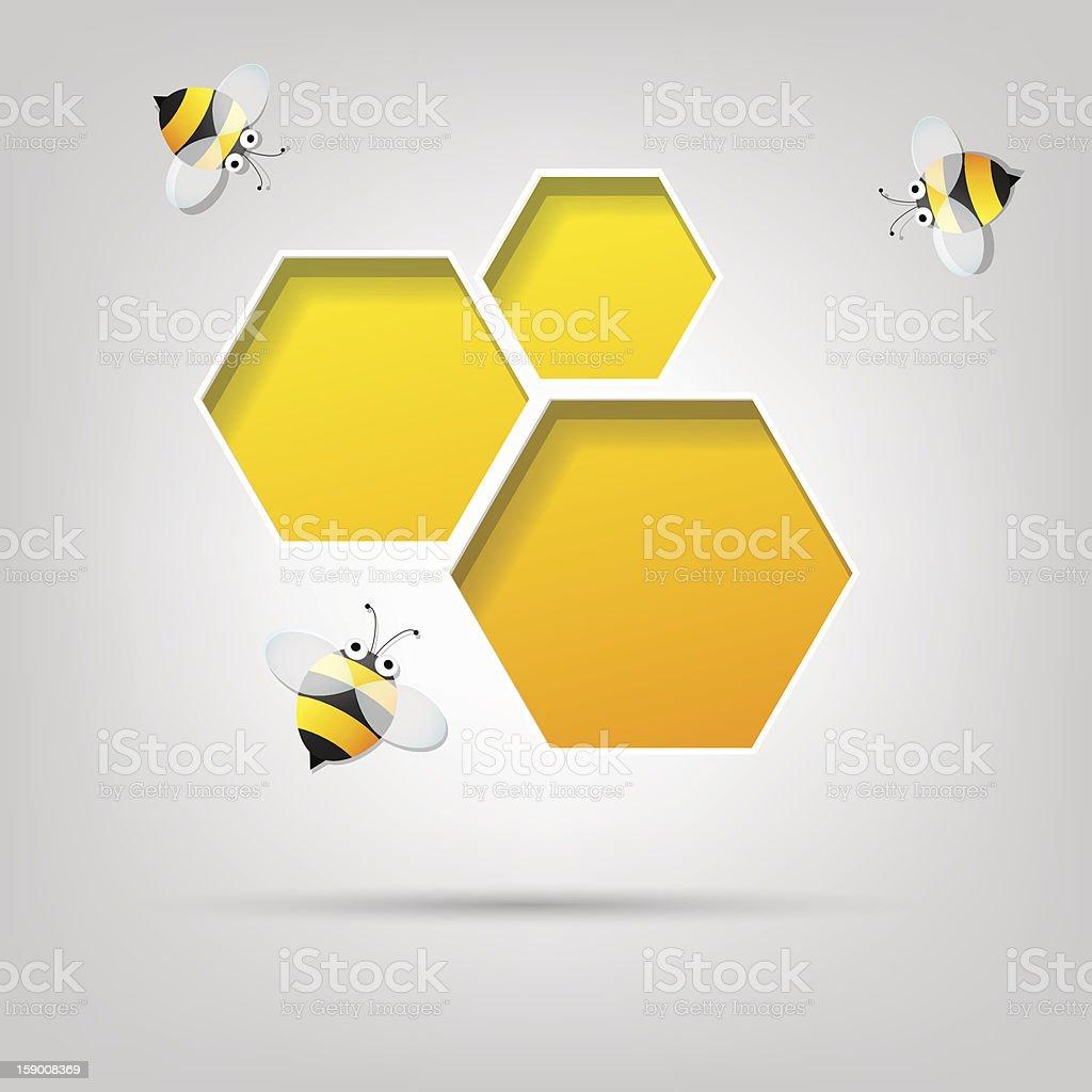 Abeilles et nid d'abeille stock vecteur libres de droits libre de droits