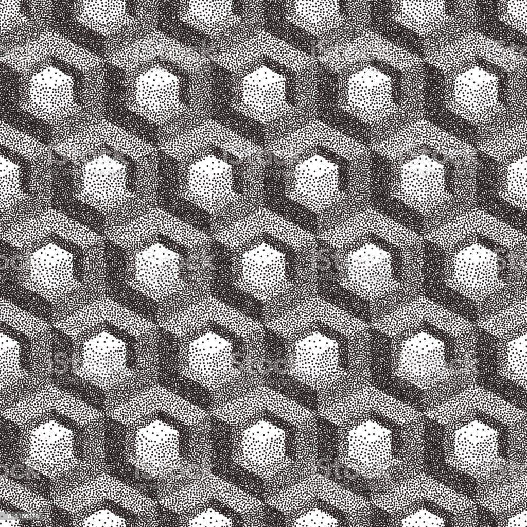 Honeycomb background. 3D mosaic. Black and white grainy design. Pointillism pattern. Stippling effect. Vector illustration. vector art illustration