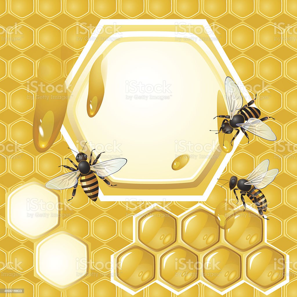 Honeycomb background with bees royalty-free stock vector art