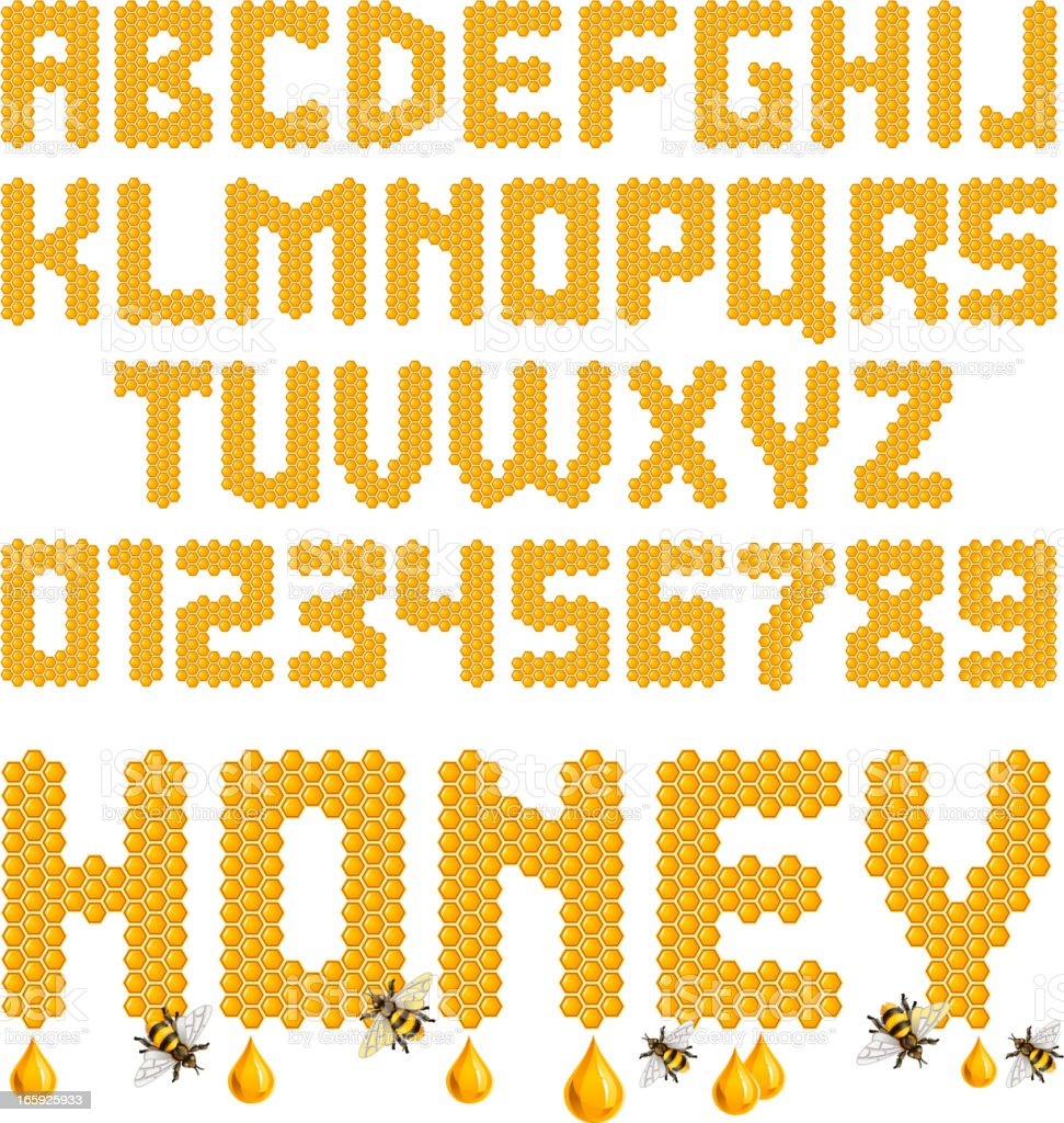 Honeycomb letters vector art illustration