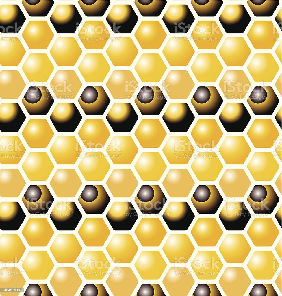 Honeycomb seamless pattern vector art illustration