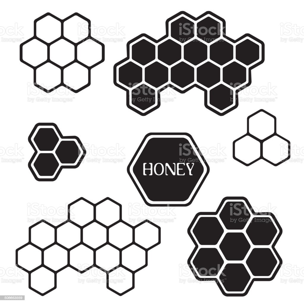 Honeycomb silhouette tags vector art illustration