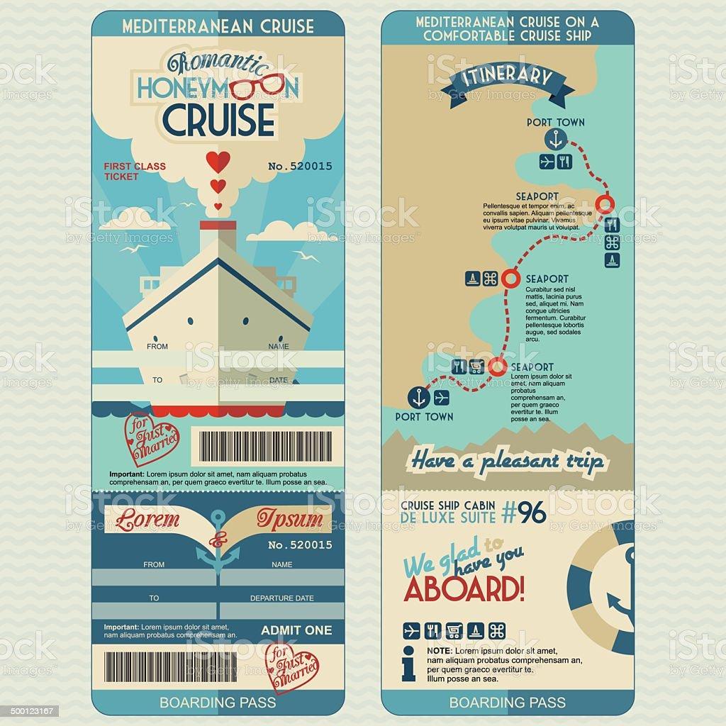 Honeymoon cruise boarding pass vector art illustration