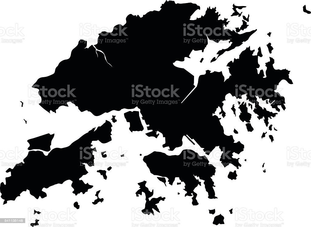 Hong Kong black map on white background vector vector art illustration