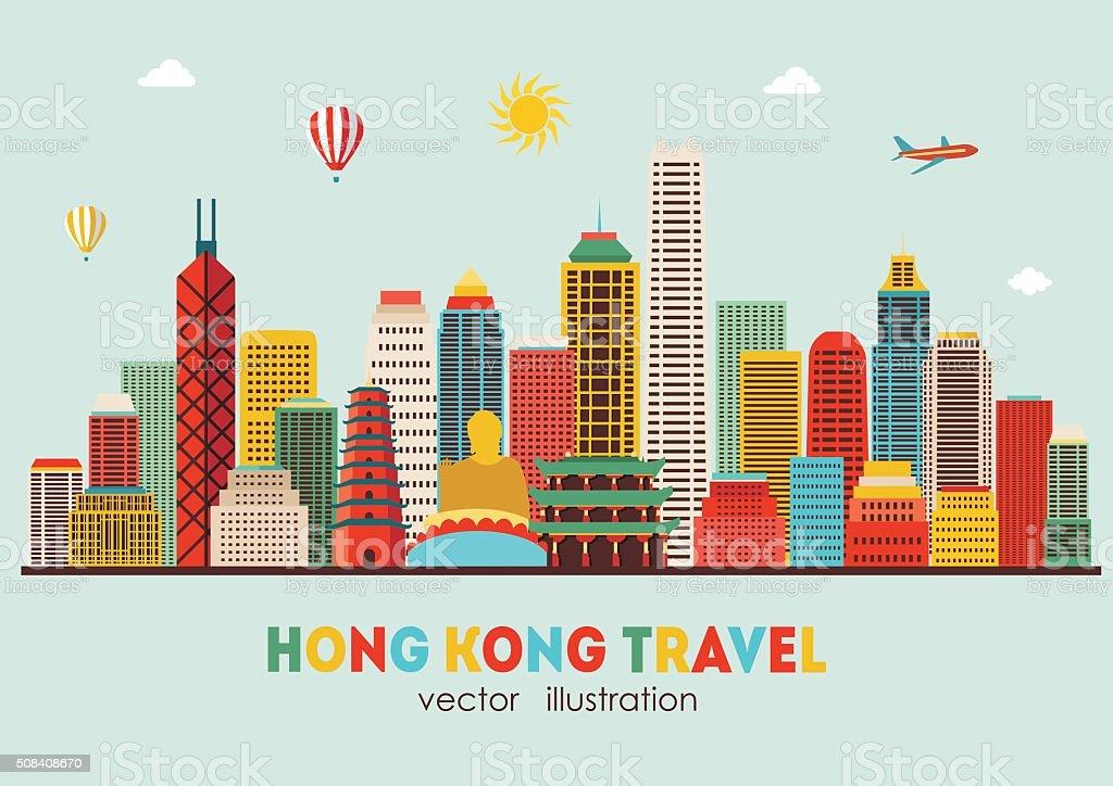 Hong Kong detailed silhouette. Vector illustration vector art illustration