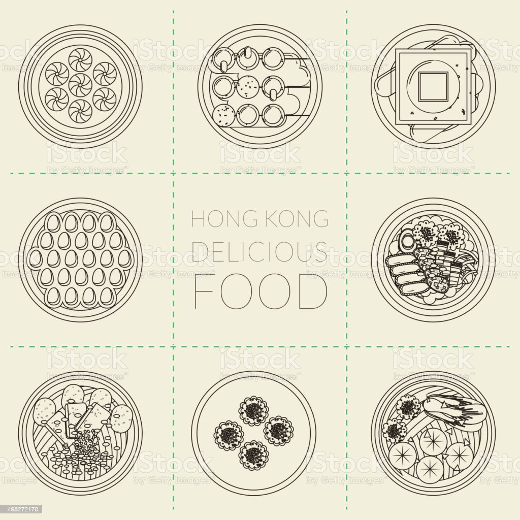 Hong Kong dishes vector art illustration