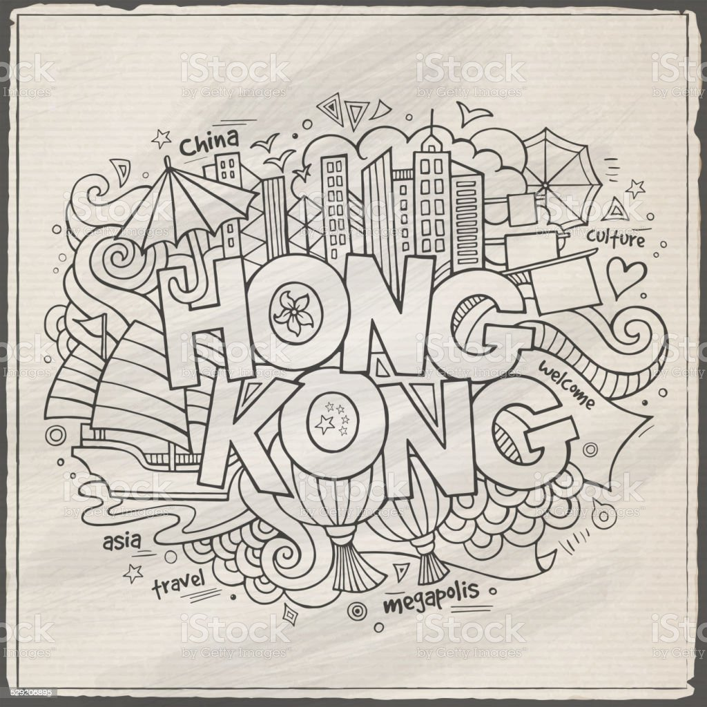 Hong Kong hand lettering and doodles elements background vector art illustration