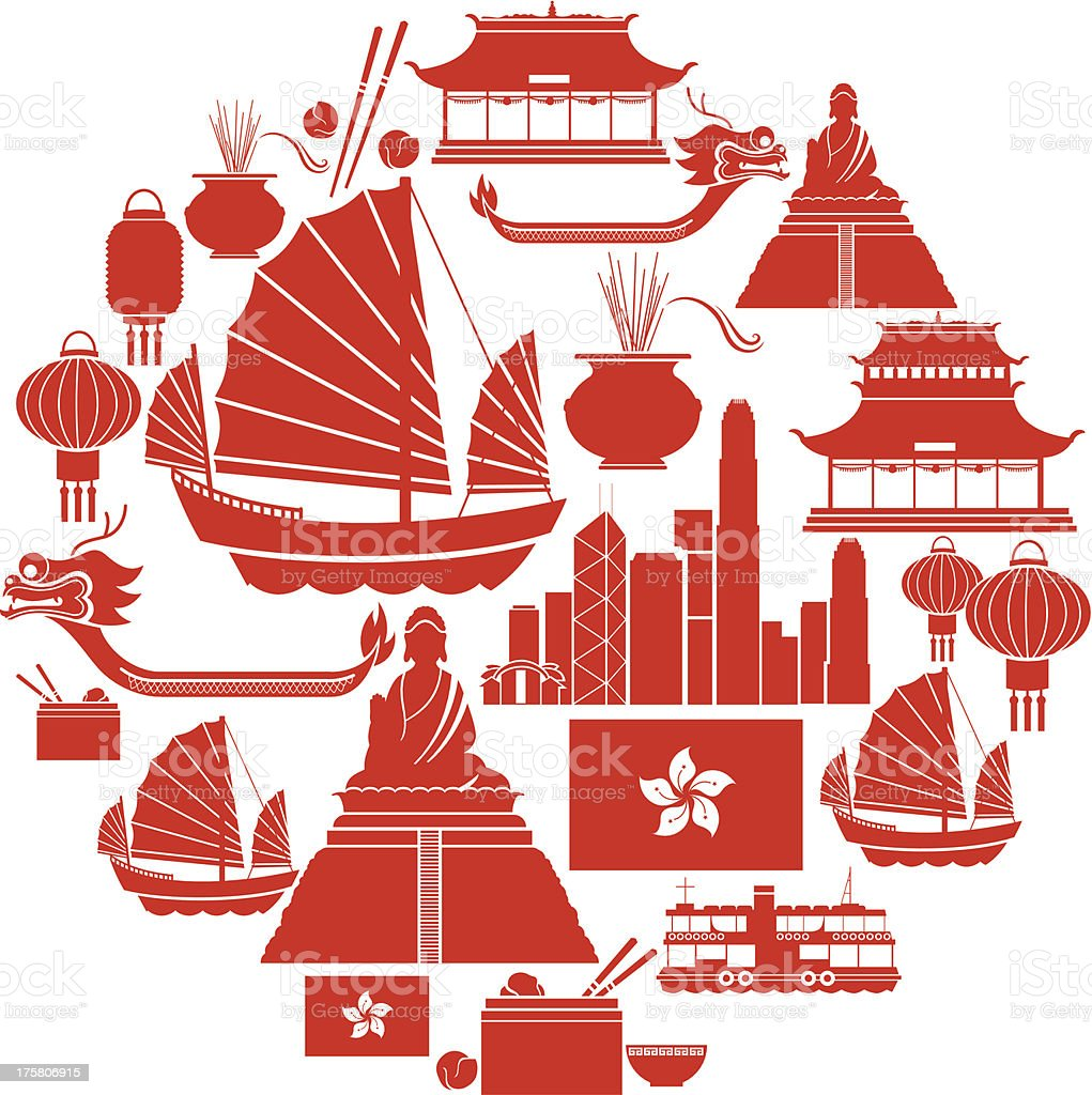 Hong Kong Icon Set vector art illustration