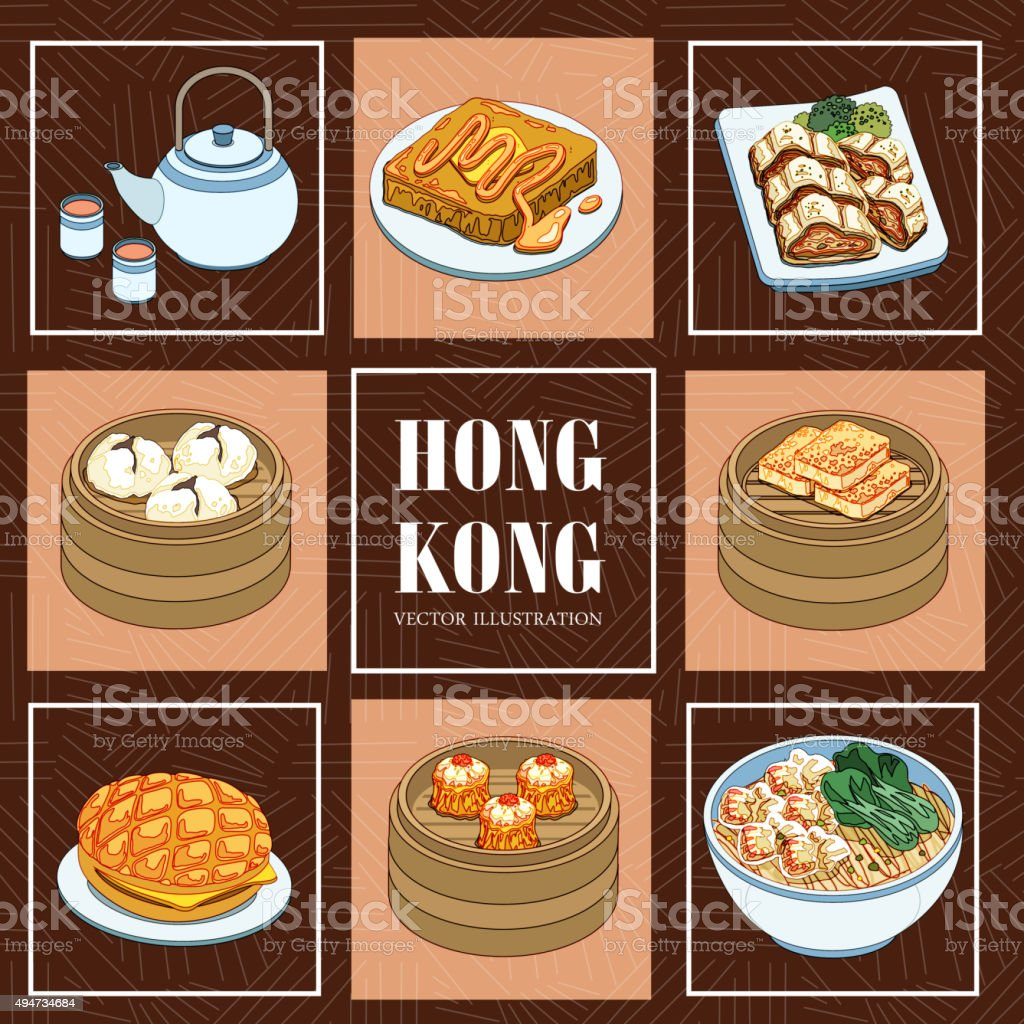 Hong Kong cuisines vector art illustration