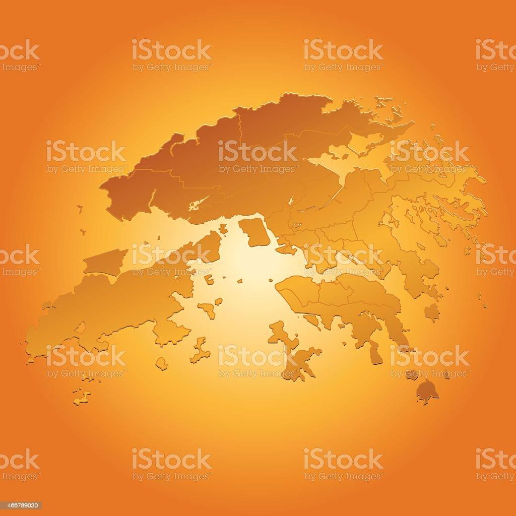 Hong Kong map on orange sunny background vector art illustration