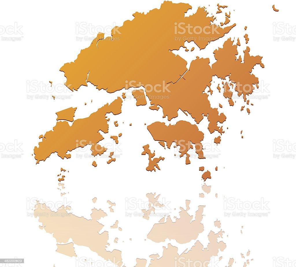 Hong Kong map orange royalty-free stock vector art