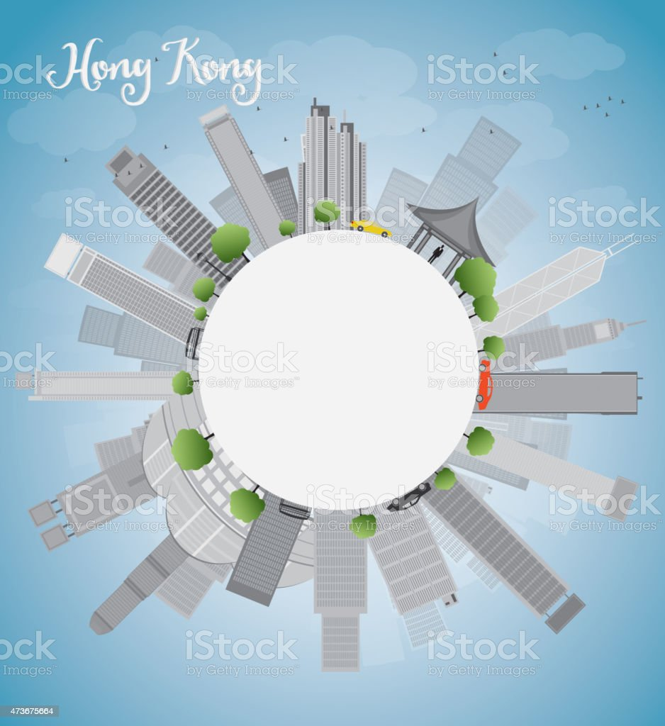 Hong Kong skyline with blue sky, taxi and copy space vector art illustration