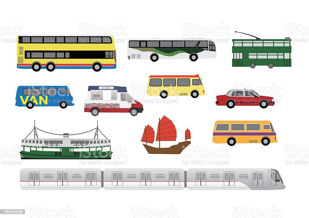 Hong Kong transport vector art illustration