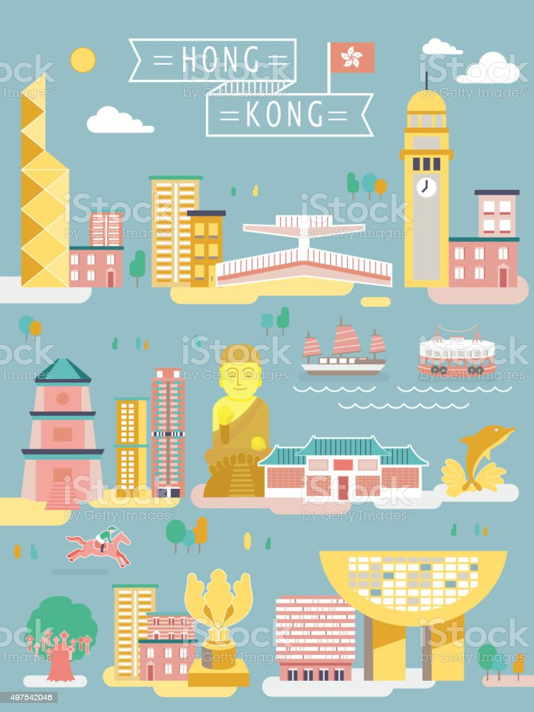 Hong Kong travel collections vector art illustration