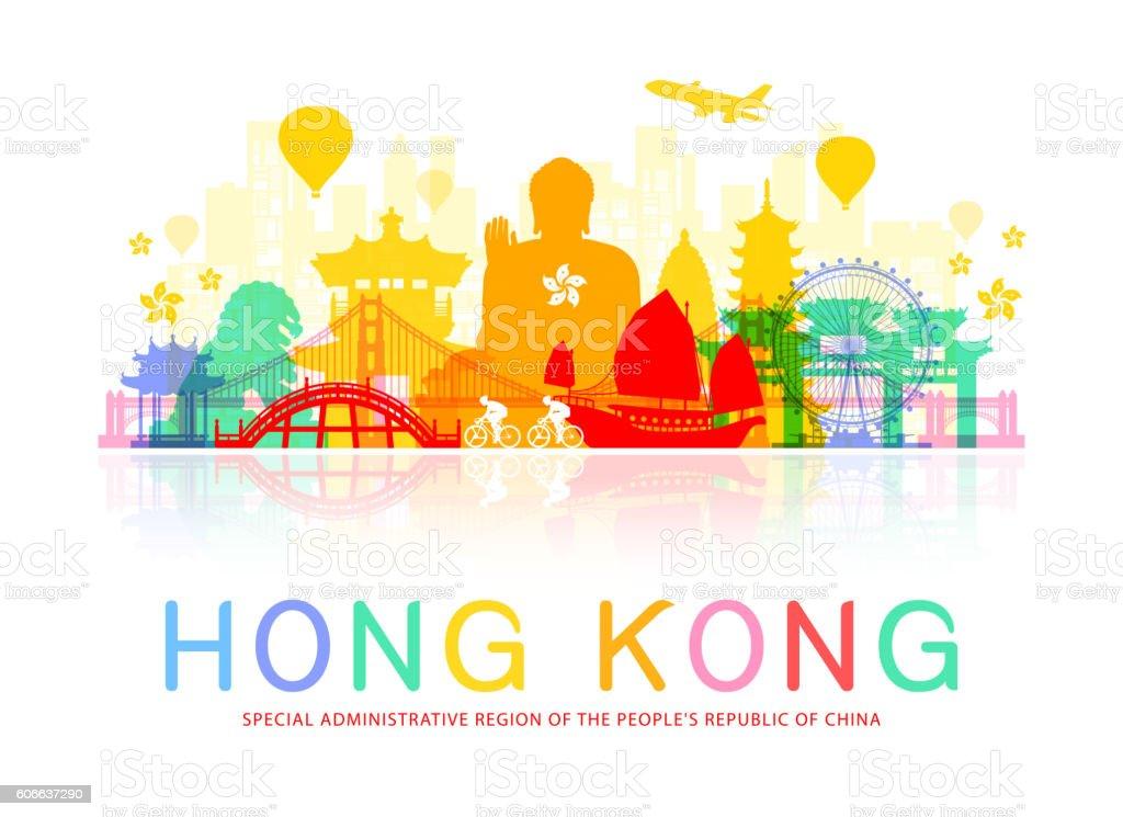 Hong Kong Travel Landmarks. vector art illustration