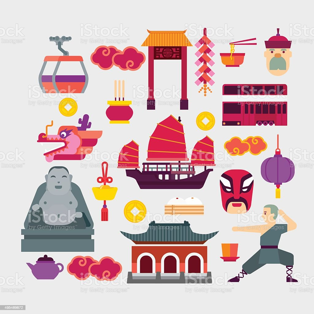 Hong Kong vector art illustration