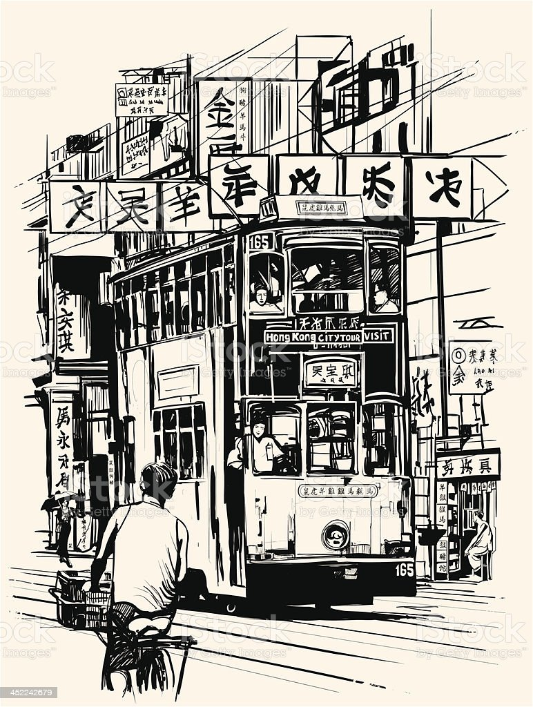 Hong Kong with a tramway royalty-free stock vector art
