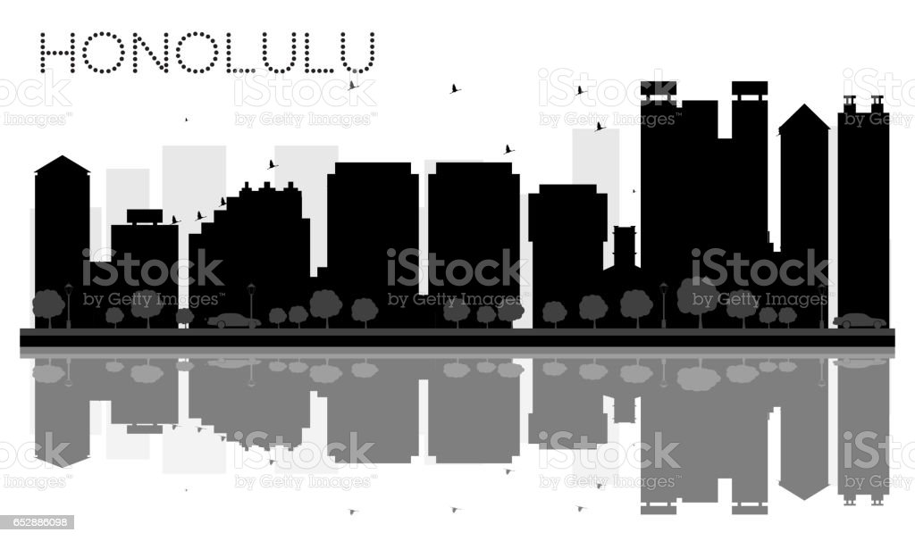 Honolulu City skyline black and white silhouette with reflections. vector art illustration
