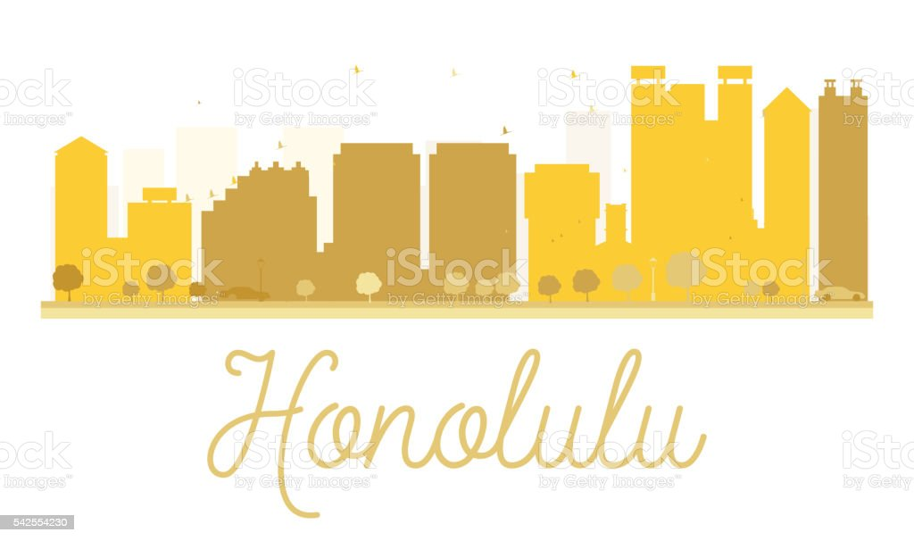 Honolulu City skyline golden silhouette. vector art illustration