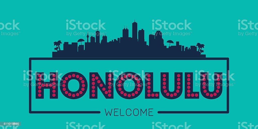 Honolulu city skyline typographic illustration vector art illustration